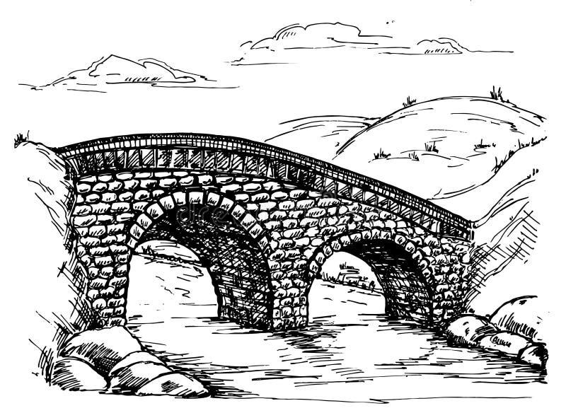Stenbron över flodlandskap skissar retro vektor illustrationer