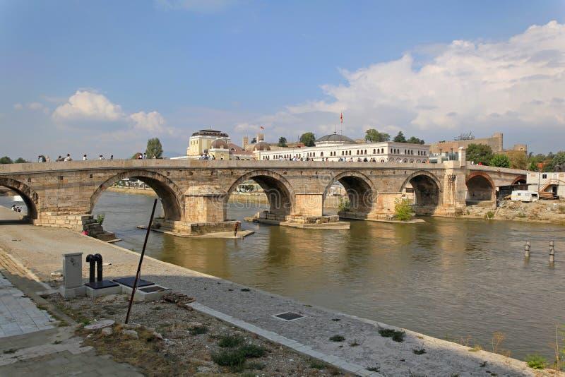 Stenbron Skopje royaltyfri fotografi