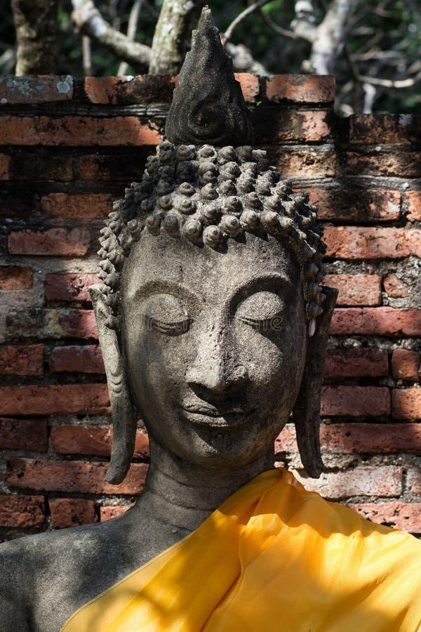 StenBuddhastaty i Ayutthaya arkivfoto