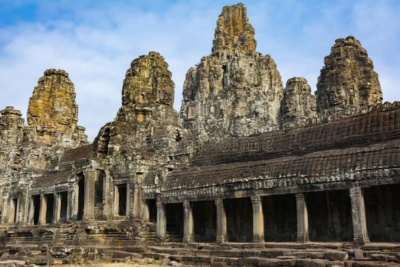 Stenbyggnad p? territoriet av Angkor Wat cambodia royaltyfria bilder