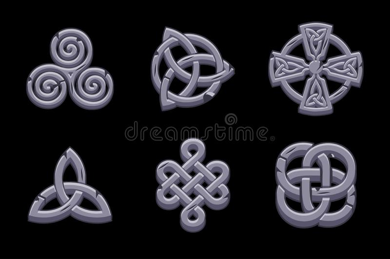 Stencelticsymboler Tecknade filmen ställde in celtic symboler royaltyfri illustrationer