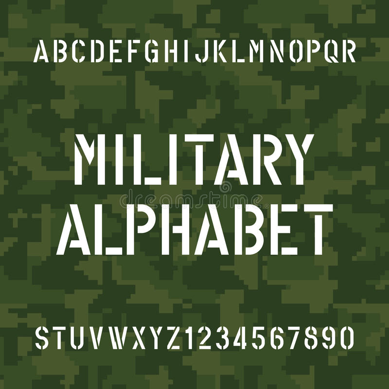 Stencil Alphabet Font. Type Letters And Numbers On Pixel