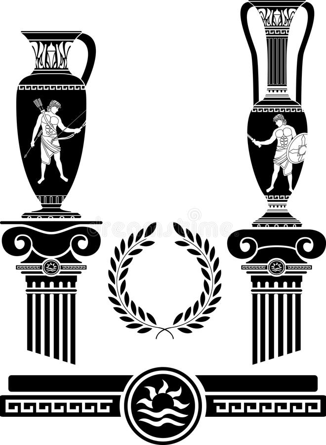 Download Stencil Of Ancient Columns And Jugs Stock Vector - Illustration: 36360551