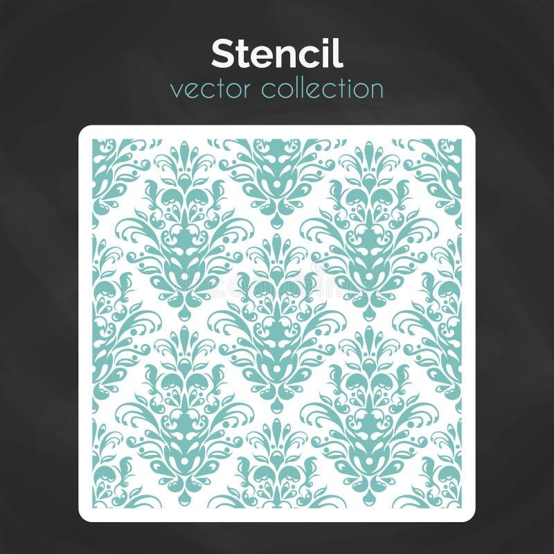 stencil Bitande mall för laser Sömlös modell för dekorativ panel stock illustrationer
