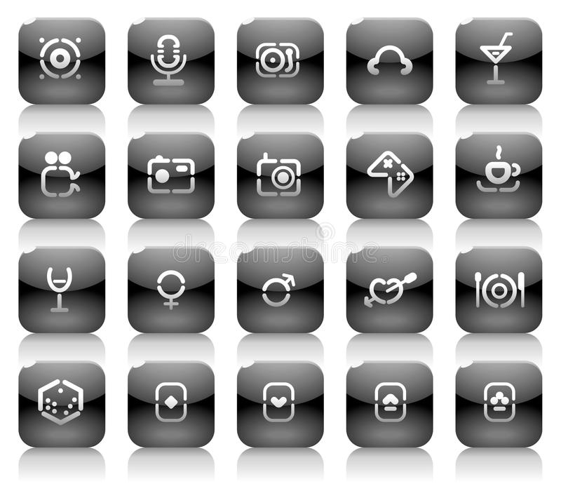 Download Stencil Black Buttons For Entertainment Stock Vector - Illustration: 11046047