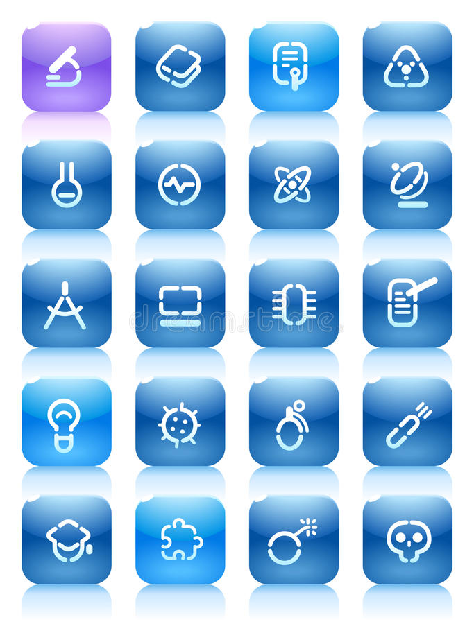 Stencil blue buttons for science stock illustration