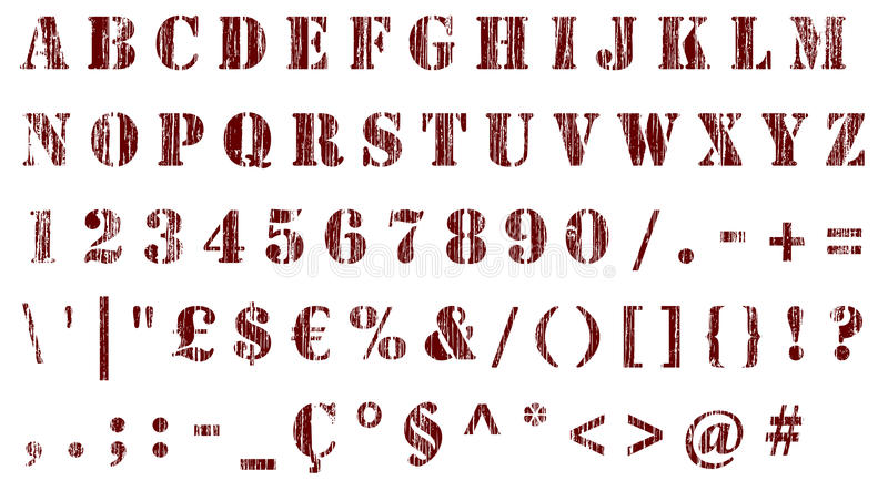 Stencil distressed characters