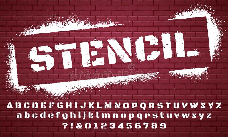 Stencil font. Graffiti spray painted alphabet, dirty textured lettering and grunge letters vector set stock illustration