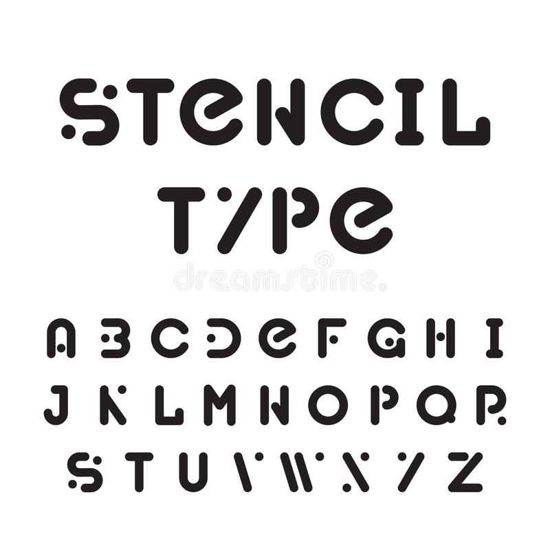 Stencil typeface, black modular round alphabet. Stencil font or typeface, black modular round alphabet isolated on white background. Simple cool modern letters royalty free illustration