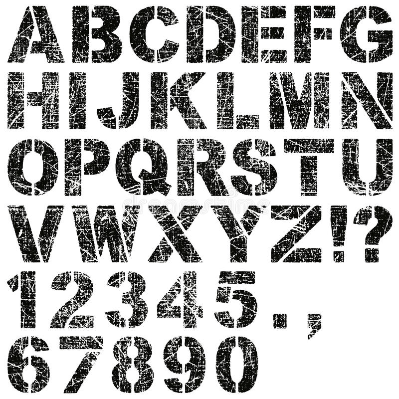 Stencil Letters And Numbers Stock Photography