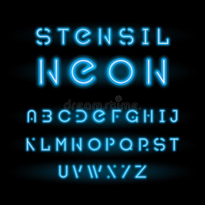 Stencil neon typeface, blue modular round alphabet. Stencil neon font or typeface, neon blue modular round alphabet isolated on black background. Simple cool vector illustration