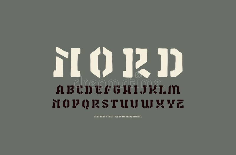 Stencil-plate serif font in the style of handmade graphics. Letters and numbers for logo and label design royalty free illustration