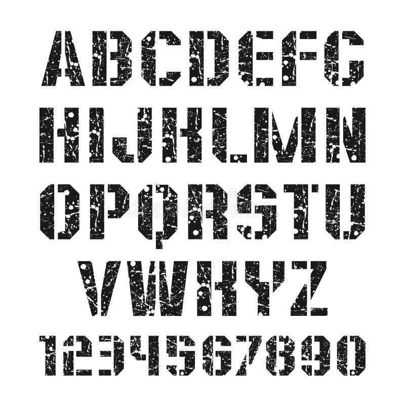 Stencil-platta stilsort och tal stock illustrationer