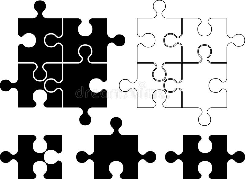 Stencil Of Puzzle Pieces Stock Photography