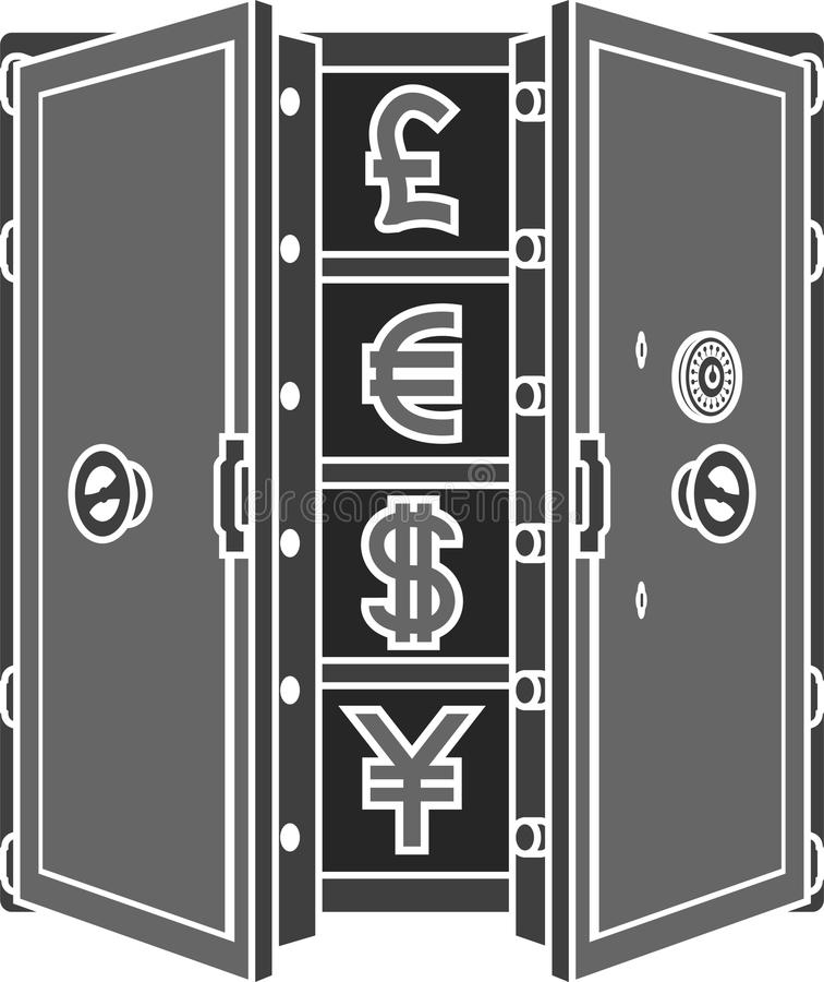Download Stencil Of Safe With Currency Signs Stock Illustration - Image: 24216826