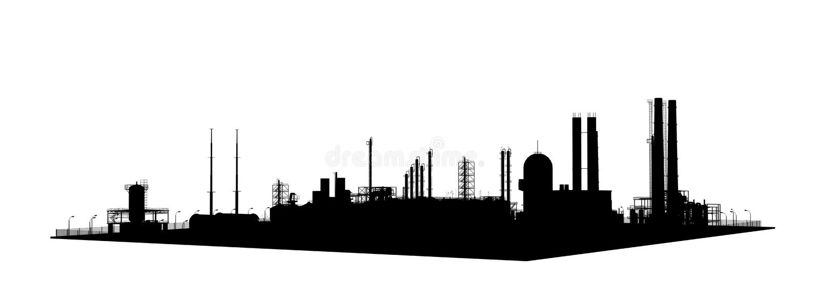 Stencil silhouette factory outside royalty free illustration