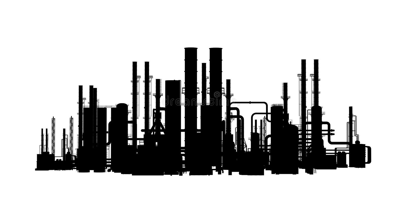Stencil silhouette factory outside stock illustration