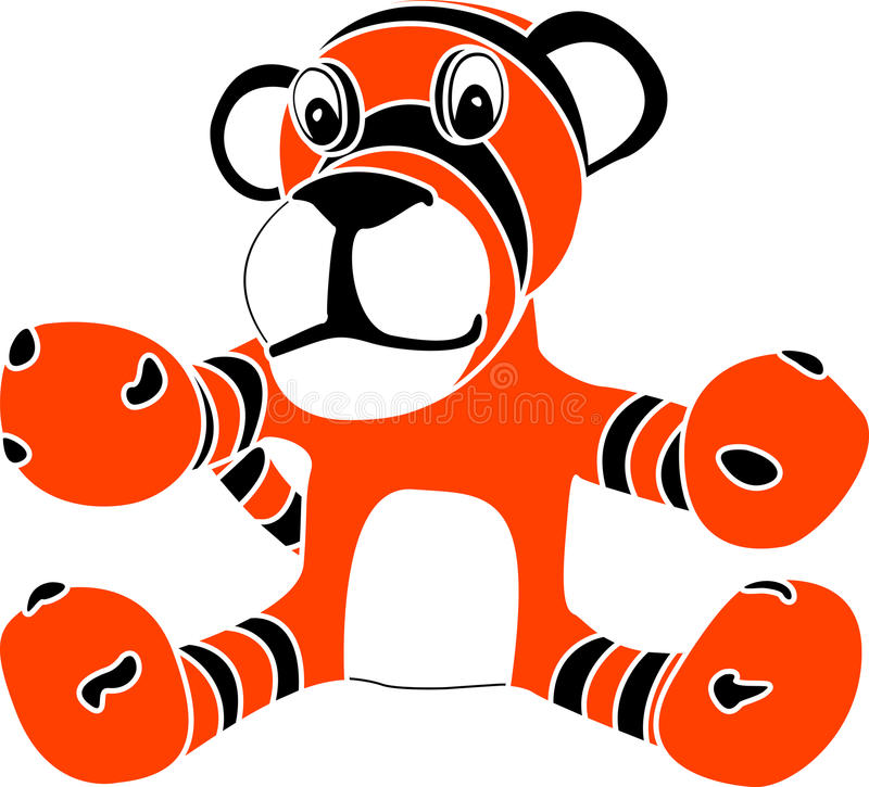 Download Stencil of toy tiger cub stock vector. Image of smile - 18622589