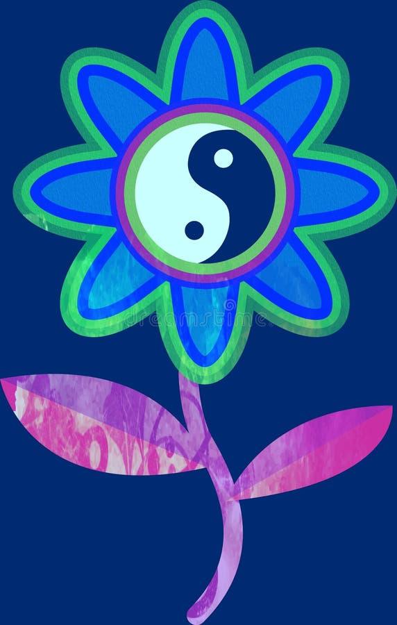 Stencil watercolor print of a yin yang flower illustration royalty free illustration