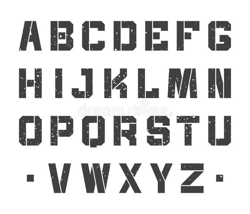 Stencilalfabetbokstäver vektor illustrationer