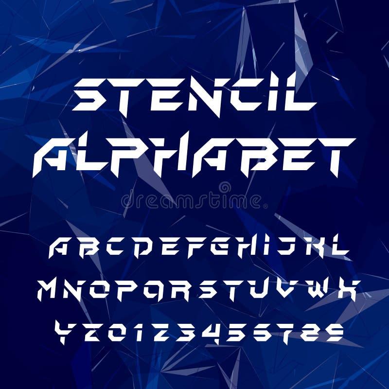 Stencilalfabetstilsort Geometriska typbokstäver och nummer på en blå polygonal bakgrund vektor illustrationer