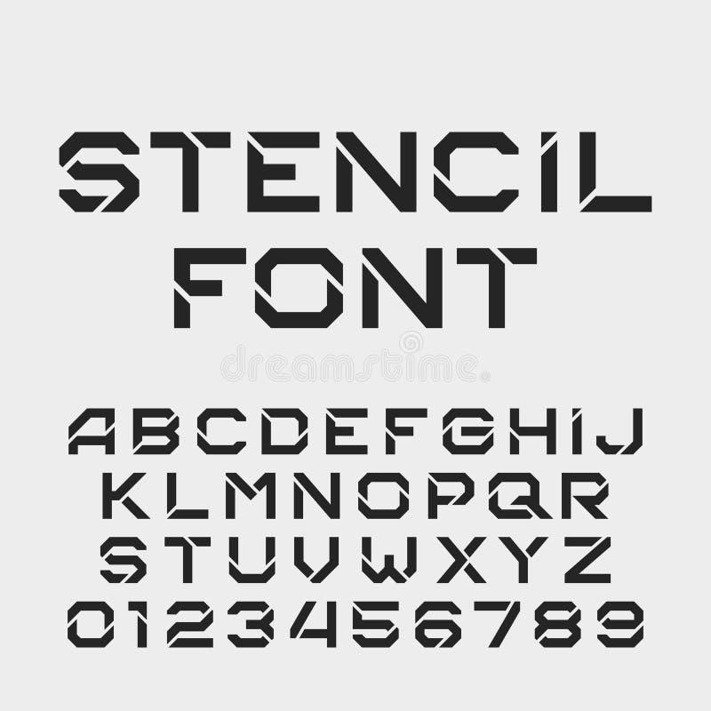 Stencilalfabetstilsort Tuffa typbokstäver och nummer vektor illustrationer