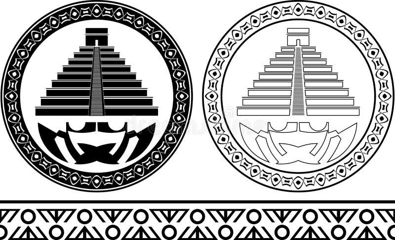 Stenciler av mayan pyramider vektor illustrationer