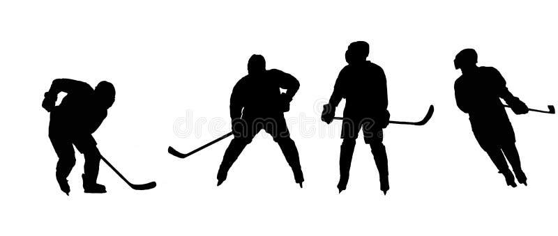 Stenciler som spelar ishockeyidrottsman nen vektor illustrationer