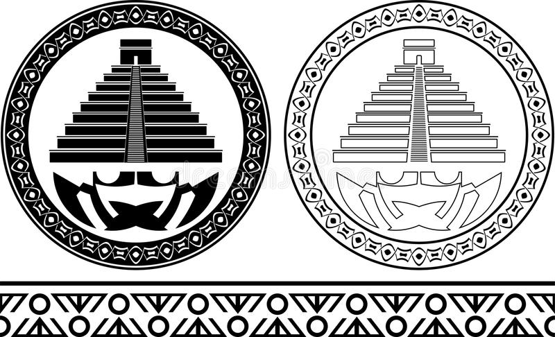 Stencils of mayan pyramids vector illustration