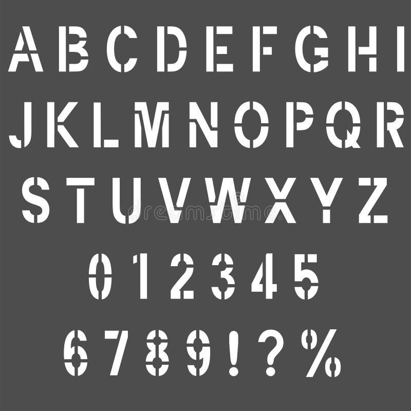 Stenciltypbokstäver stock illustrationer