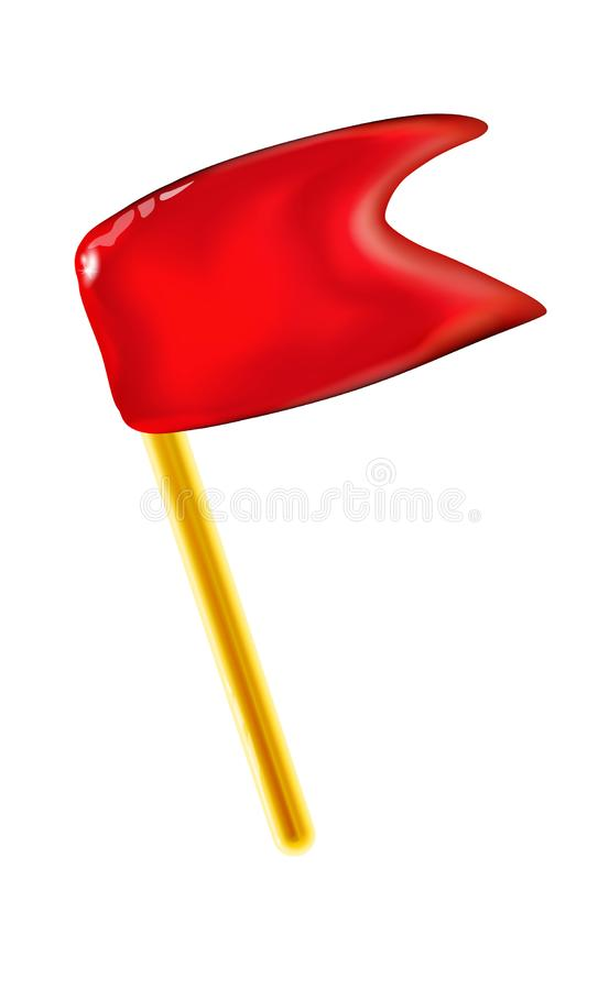 stendardo lucido rosso 3d o piccola bandiera per la festa, giocattolo di plastica realistico di presentazione per i bambini Vetto illustrazione di stock