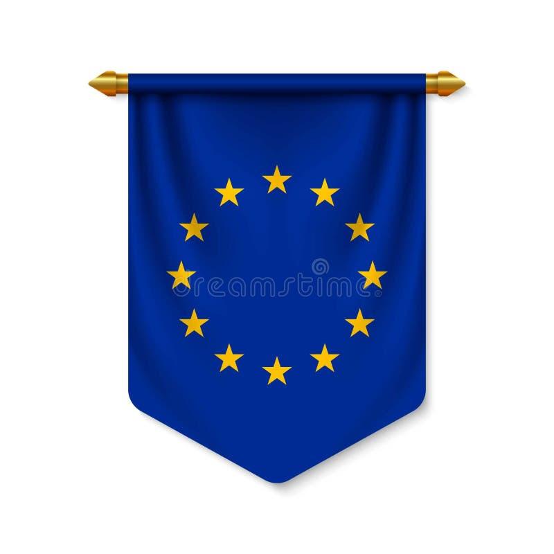 stendardo realistico 3d con la bandiera illustrazione vettoriale