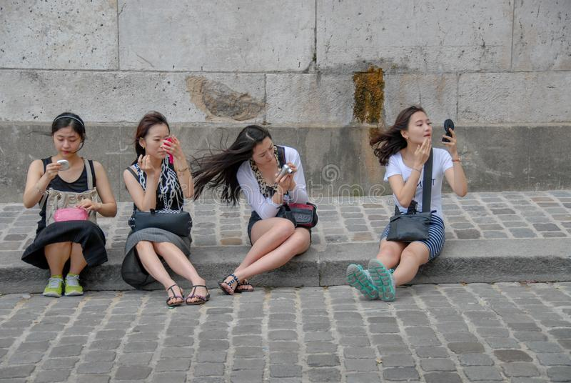 Stendere il trucco cinese di quattro femmine fotografia stock libera da diritti