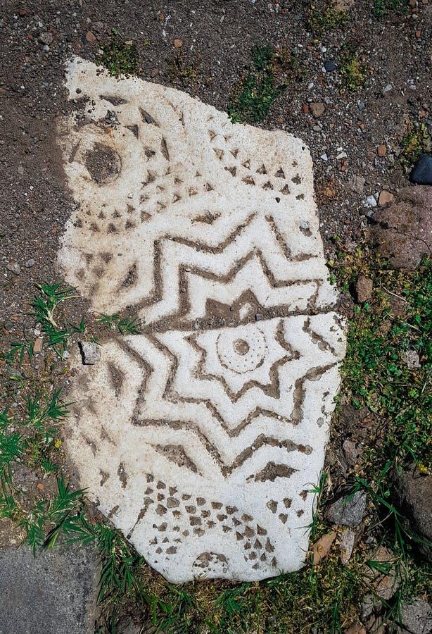Stendetalj från Pergamum Pergamon den forntida staden i Bergama, Izmir, Turkiet Stjärnadetalj arkivbilder