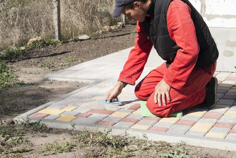 Stenditura delle lastre per pavimentazione fotografia stock libera da diritti