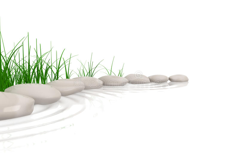 Stenen & gras bij waterenrand