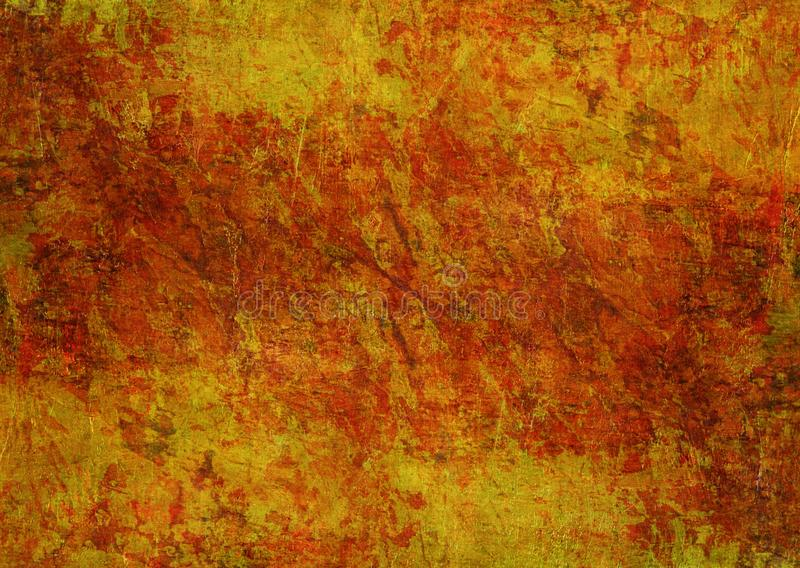 Stenen die Donkere Rusty Distorted Decay Old Abstract Textuur Autumn Background Wallpaper schilderen van Mysticus de Gele Rode Or royalty-vrije stock foto