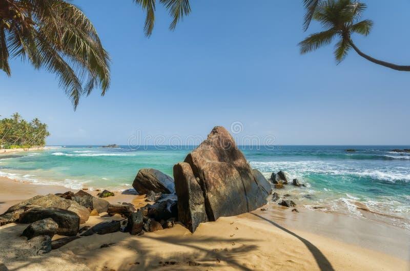 Stenen en palmen op een zandig strand van Hikkaduwa in Sri Lanka royalty-vrije stock afbeeldingen