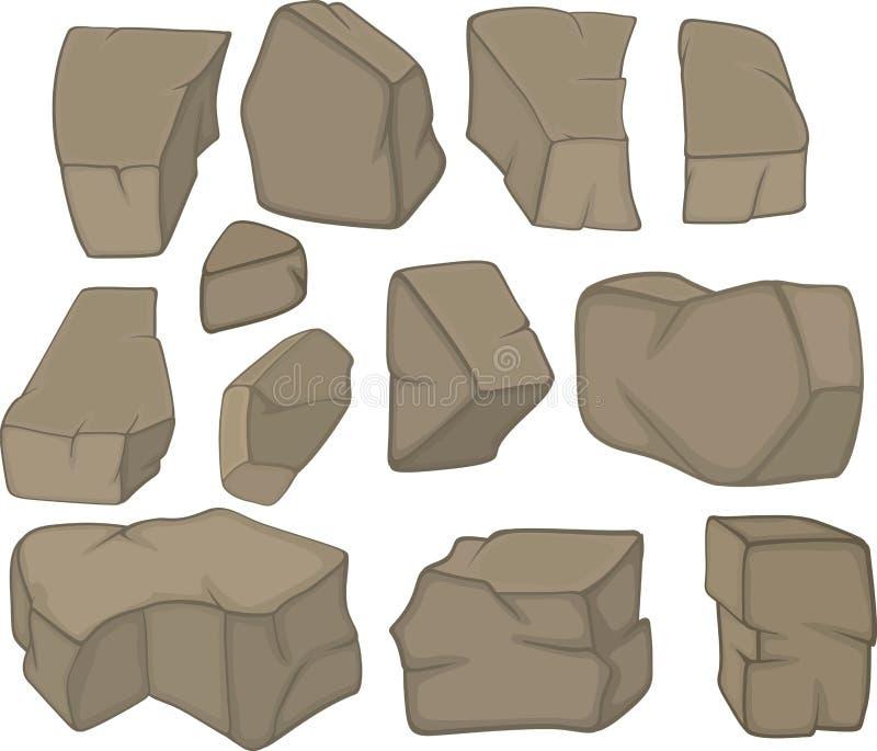 Stenen geplaatst beeldverhaal stock illustratie