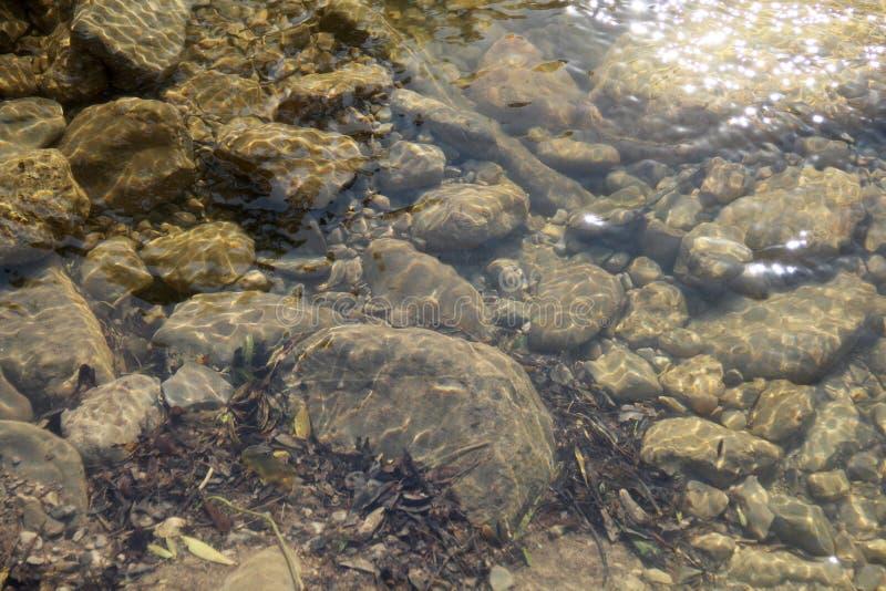 Stenen onder water van een bergstroom royalty-vrije stock afbeelding