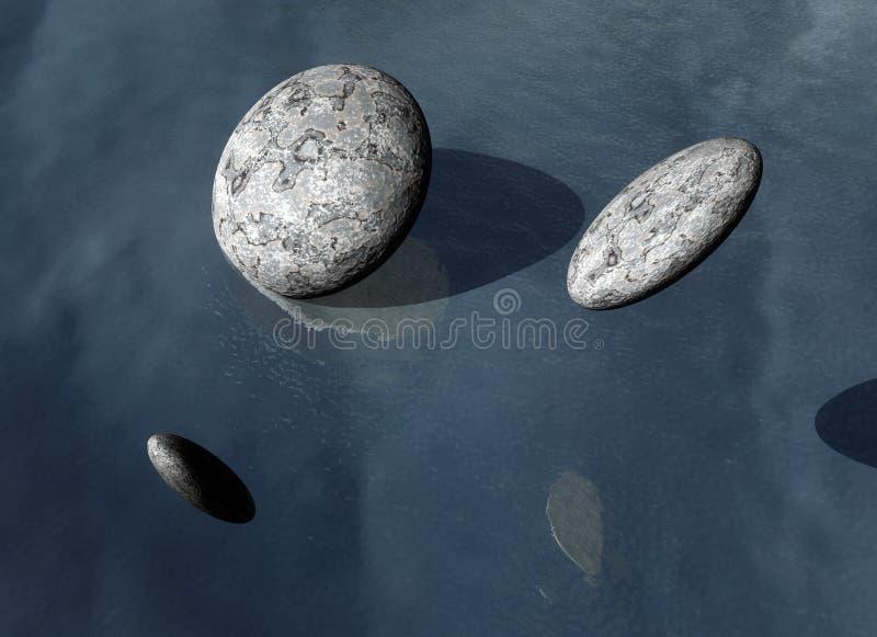 Stenen op een grijze achtergrond stock illustratie