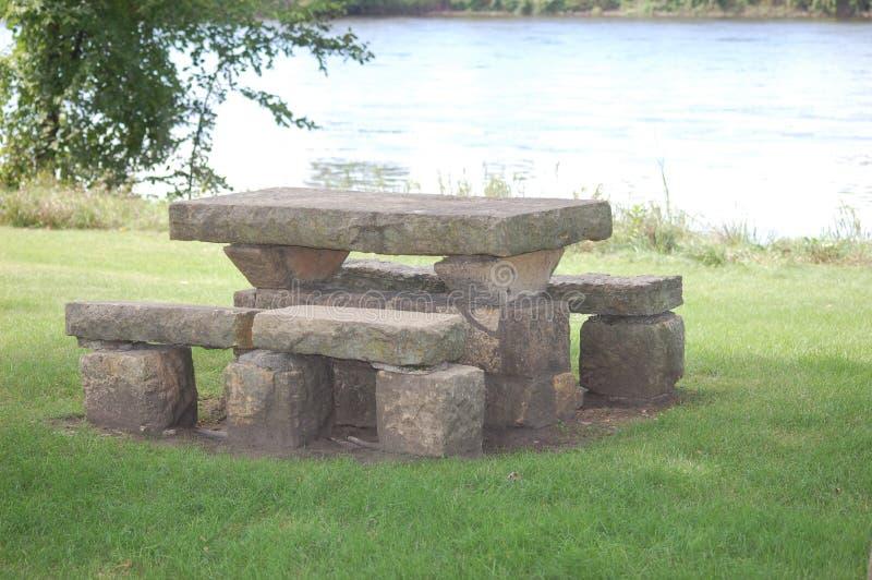 Stenen parkerar bänken arkivbilder
