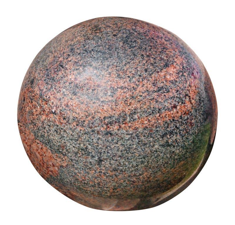 Stenen polerade den röda granitbollen som isolerad planetjord royaltyfria bilder