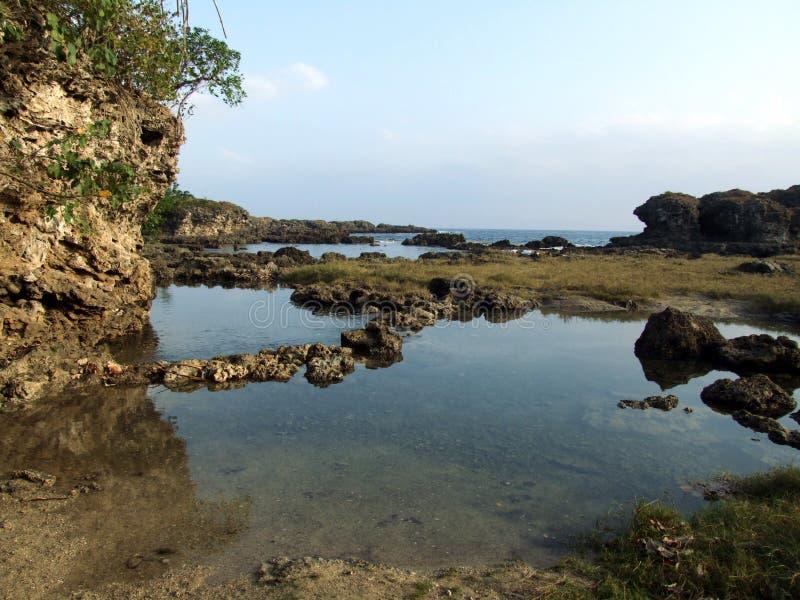 Stenen seglar utmed kusten arkivbilder