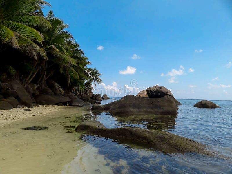 Stenen van La Digue Seychellen stock foto