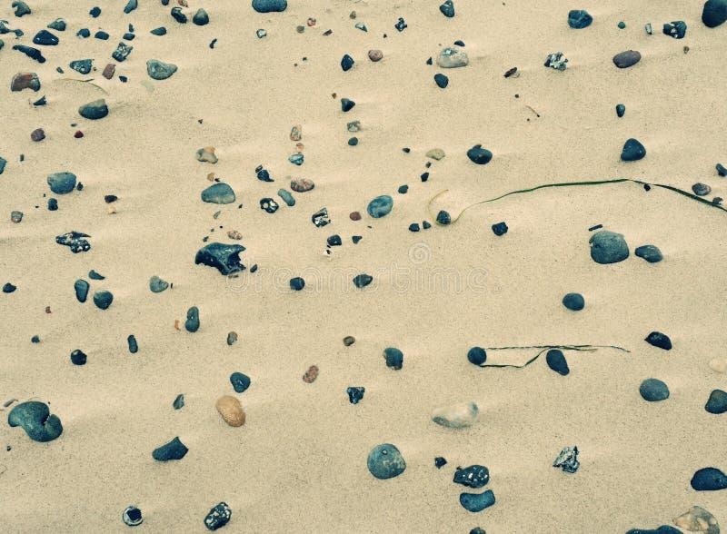 Stenes i otoczaki w piasku plaża Naturalni romantyczni na morzu tło zmierzchu kolory ocean fotografia royalty free