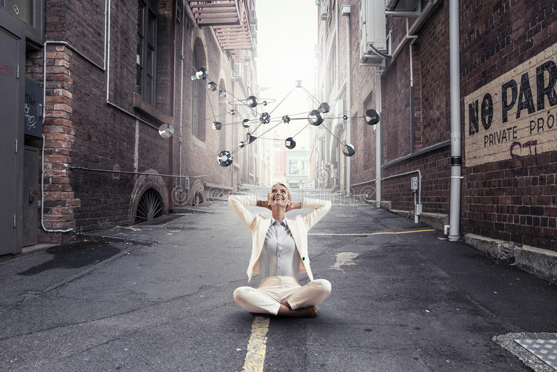 Stength e equilíbrio espirituais Meios mistos foto de stock royalty free