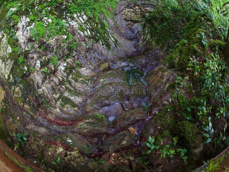 Stenig bergssida med strömmar som flödar längs den arkivbild