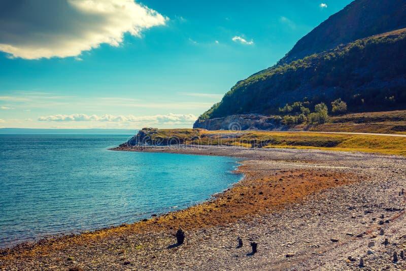 stenig havskust sätta på land pebblen Härlig natur av Norge royaltyfri foto