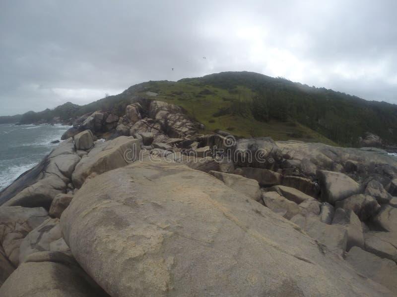 Stenig kust av en lös strand i Garopaba område, söder av Brasilien royaltyfri foto